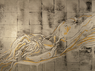 Silver and Gold Nude Reclining, 2016.