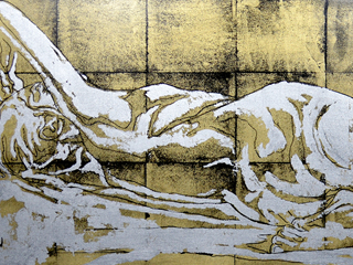 Gold and Silver Nude Reclining, 2016.